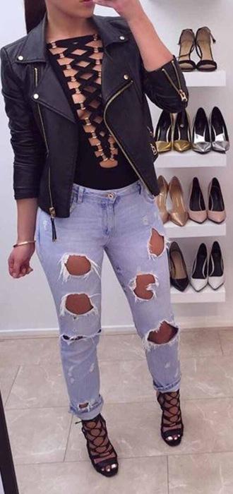 shirt criss cross top ripped jeans black shirt jacket