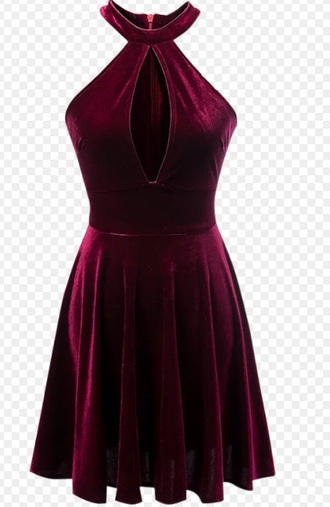 dress girly velvet red velvet dress burgundy burgundy dress cute cute dress skater dress cut-out
