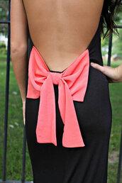 dress,bow,backless,black,maxi dress,spaghetti strap,cotton,open back