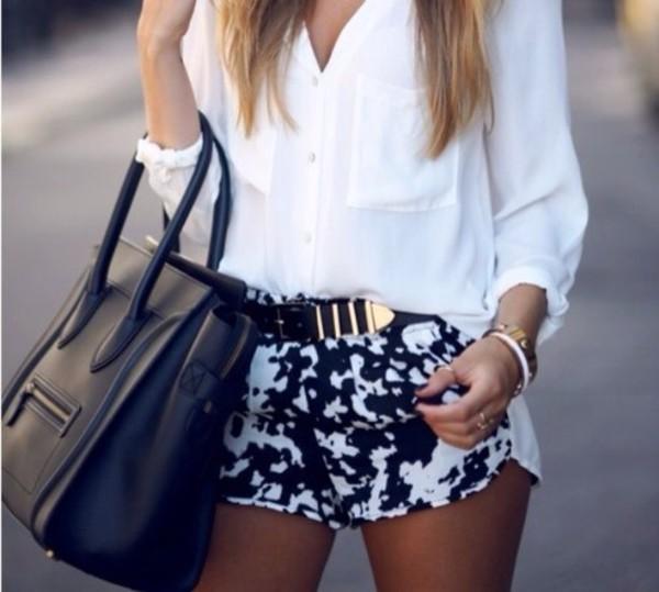 shorts black white mini belt sunglasses shirt white long shirt