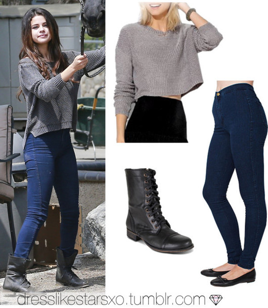sweater selena gomez jeans shoes
