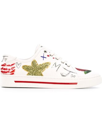 sneakers print white shoes