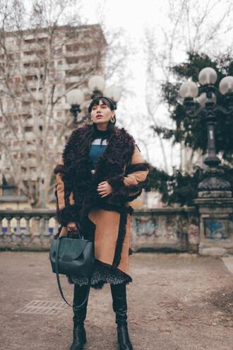 natalie off duty blogger coat shoes dress bag jewels winter outfits spring outfits boots