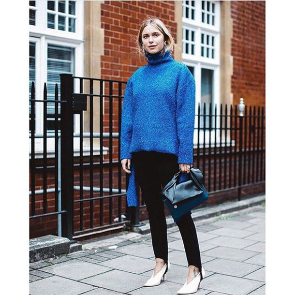 Sweater: tumblr, blue sweater, turtleneck, turtleneck sweater, bag ...