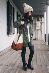 hat,beanie,beige,jacket,floppy hat,hat beanies,winter hat,bag,brown bag,over the shoulder,purse,shoulder bag,white bag,bag/purse
