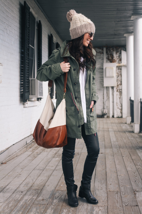 hat beanie beanie beige jacket floppy hat hat beanies winter hat green military style fall outfits leather bag bag brown bag over the shoulder purse shoulder bag white bag bag/purse big coat
