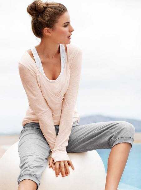 sweater pink cute thumb holes workout summer