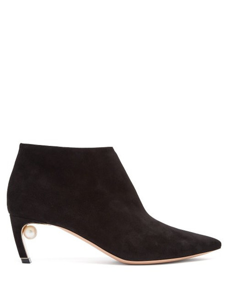 suede ankle boots pearl ankle boots suede black shoes