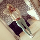 sweater,jeans,shirt,mint jeans,clothes,blonde hair,pants,mint green jeans,skinnies,white,blue,mirror,long sleevr,long sleeves,belly,big size and long strap,jumper,winter sweater,sweater knitwear,white sweater,casual,everyday look,green pants,skinny jeans,cute,blouse,mint,green,light green,cardigan,top,pretty,knitted sweater,skinny pants,denim,pullover,large pullover,light blue,light blue jeans,piercing,swaeter,summerstyle,style,mode,mint color,cableknit,high waisted jeans,mint green bottom,coat,leggings,jeggings,top and jeans