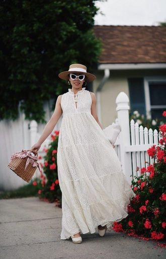 dress maxi dress sunglasses white sunglasses hat white dress sleeveless dress sleeveless eyelet detail spring outfits