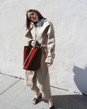 bag,double3xposure,blogger,red bag,coat,trench coat,shoes,black shoes,mules