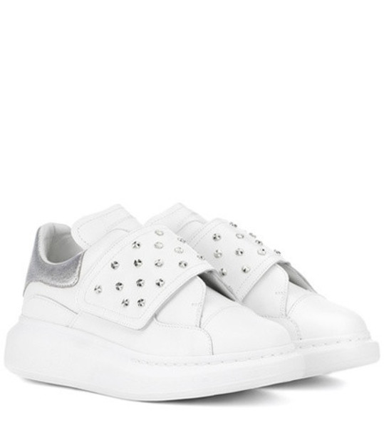 studded sneakers leather white shoes