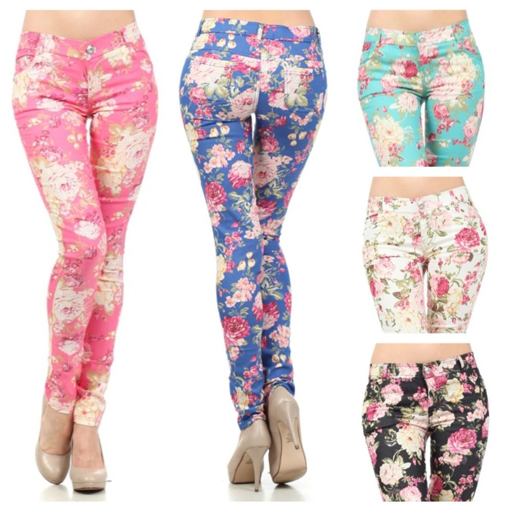 Floral Flower Print Skinny Watercolored Vintage Stretch Denim Pencil Pants Jeans | eBay