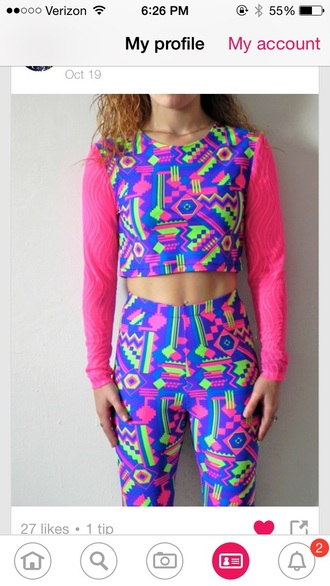 leggings neon fresh prince 80s style 90s style jumpsuit