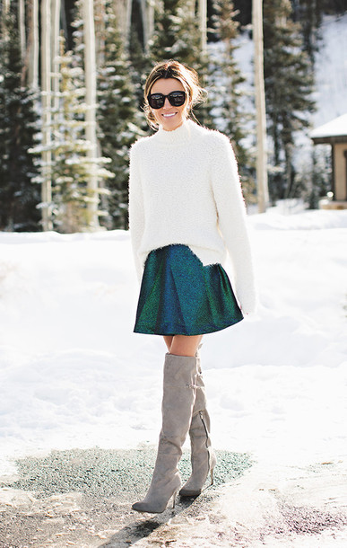 hello fashion blogger sweater skirt glitter thigh high boots suede boots shoes sunglasses