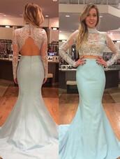 open back,two piece dress set,lace dress,blue dress,light blue,baby blue,long sleeve dress,see through,mesh dress,mermaid,mermaid prom dress,prom dress,evening dress