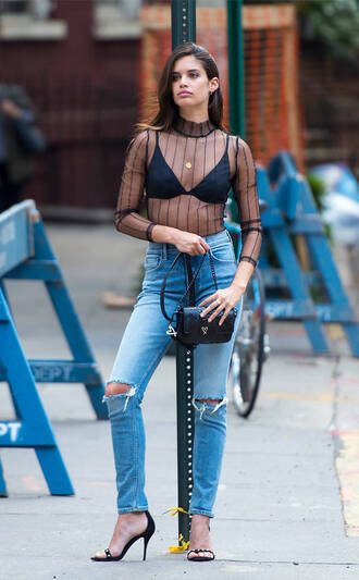 top see through see through top sara sampaio model ripped jeans jeans sandals sandal heels