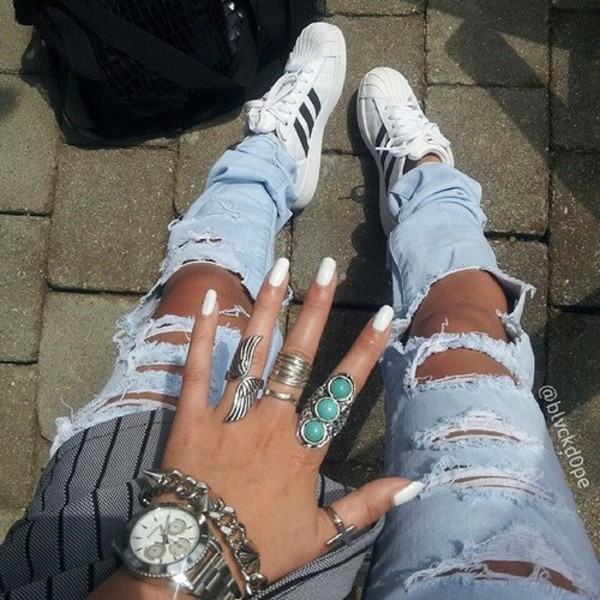 jeans torn worn ripped jeans