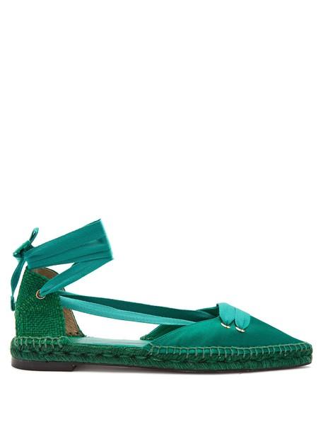 CASTAÑER flats satin green shoes