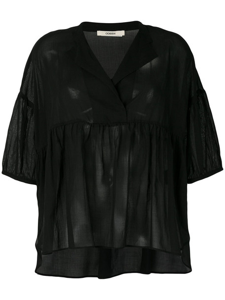 Odeeh blouse oversized women cotton black top
