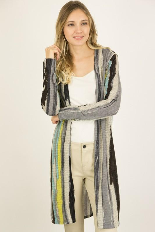 Abstract Striped Long Cardigan