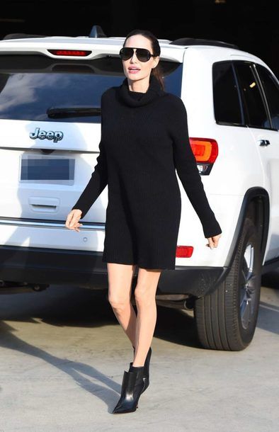 dress turtleneck turtleneck dress sweater sweater dress ankle boots angelina jolie fall outfits streetstyle