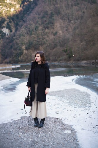once upon a time blogger jacket coat pants blouse bag black coat handbag wide-leg pants ankle boots winter outfits