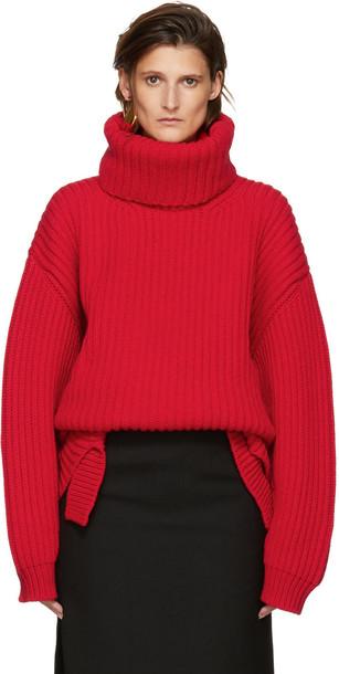 Balenciaga Red Wool Oversized Turtleneck - Wheretoget b6d3972a5