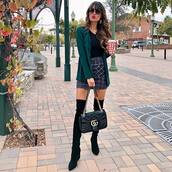 shorts,mini skirt,plaid,plaid skirt,patch pocket,gucci bag,over the knee,suede leather boots,mint green blazer