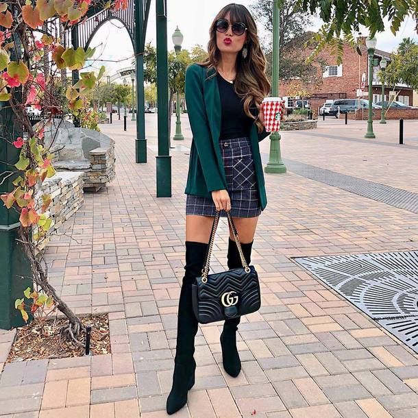 shorts mini skirt plaid plaid skirt patch pocket gucci bag over the knee suede leather boots mint green blazer
