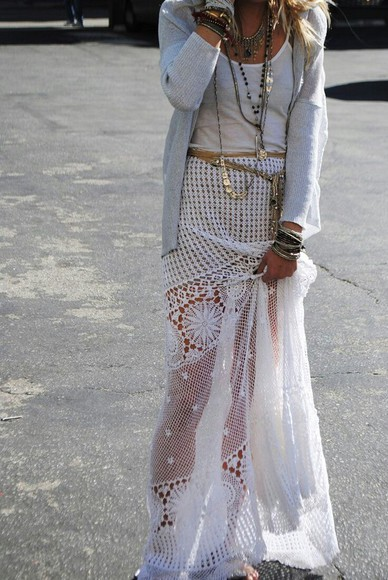 skirt floor length skirt white lace skirt sheer see through flowy skinny belt jewel belt drapey bangles layered neckalces layering bracelet long necklace short necklace white tank top simple top cardigan sweater gray sweater gray cardigan