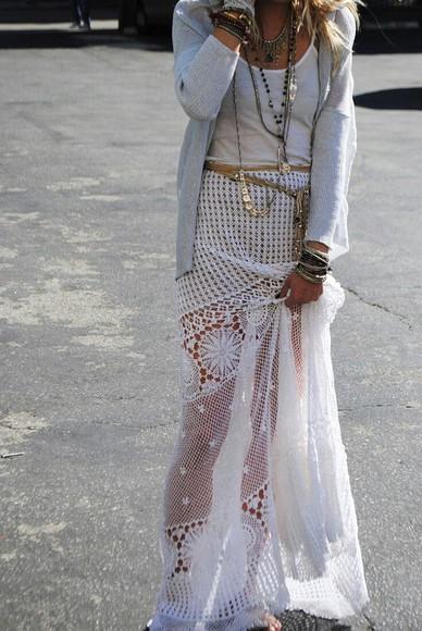 boho skirt white lace skirt see through cardigan