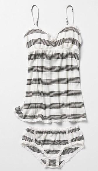 ivory underwear stripes bikini cami