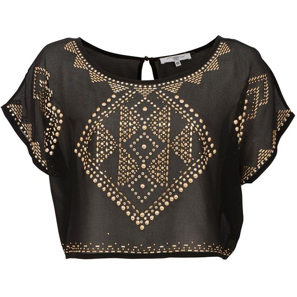 Black and Gold Tribal Stud Crop T-Shirt - Polyvore