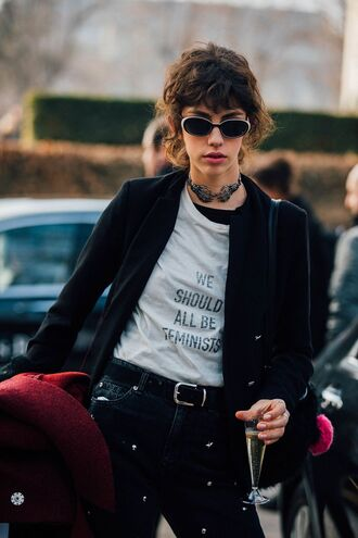jeans tumblr blazer black blazer t-shirt white t-shirt quote on it necklace choker necklace silver necklace jewels jewelry equality fashion week 2017 embellished belt sunglasses streetstyle feminist tshirt