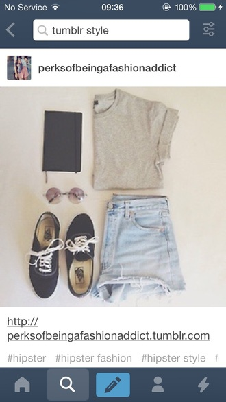 top hipster tumblr cute trendy fashion style apparel outfit shorts shoes accessories sweater sunglasses bag