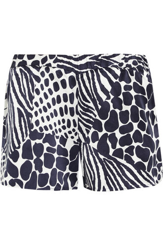 shorts animal print blue silk