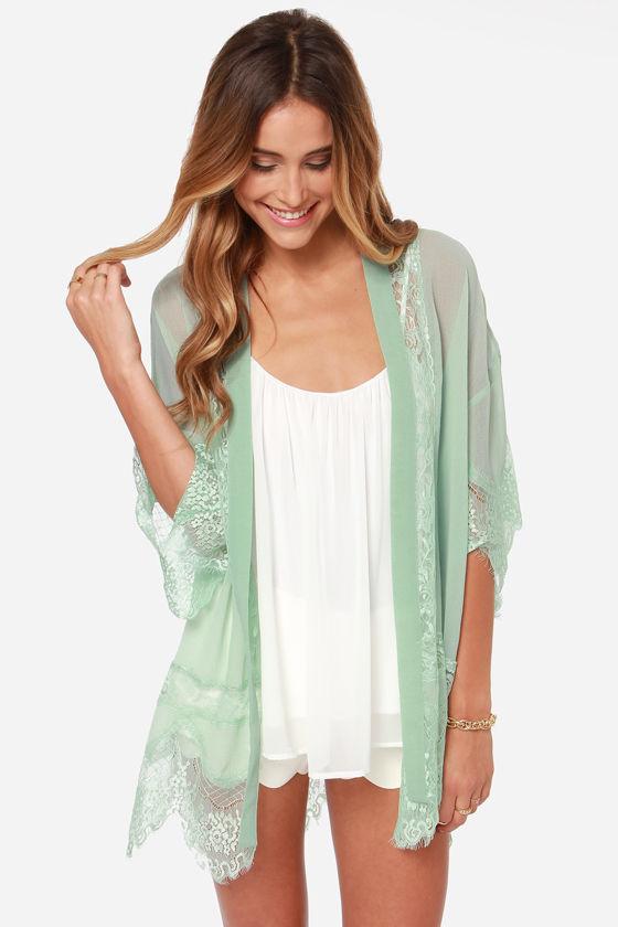 Rambling rose mint green lace kimono top