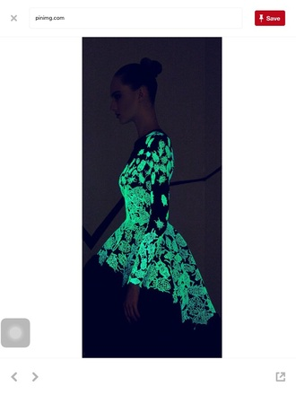 dress glow in the dark green lace up party dress party
