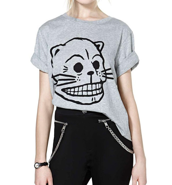 Oversized T-shirt With Cat Cartoon Print