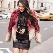 dress,date outfit,mini dress,black dress,little black dress,jacket,pink jacket,fur jacket