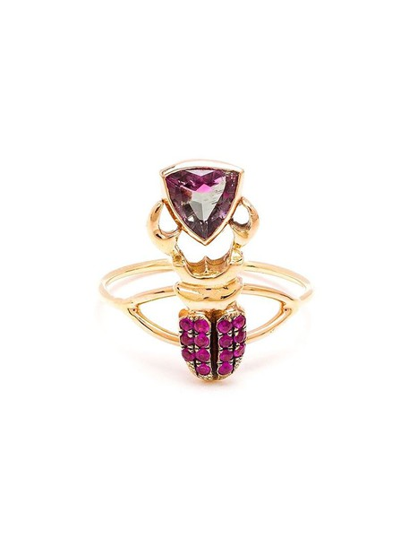 Daniela Villegas ring gold purple pink jewels