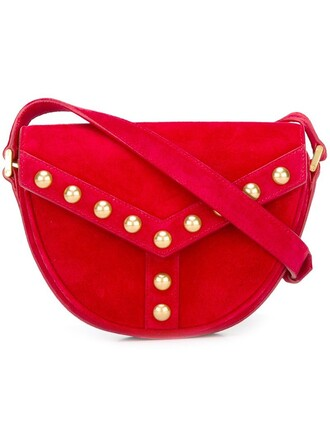 satchel studs red bag