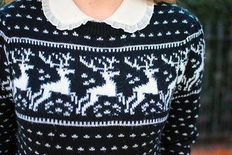 navy deer holiday season christmas sweater sweater