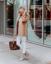 jeans,white jeans,skinny jeans,brown jacket,louis vuitton bag,ankle boots,mid rise jeans