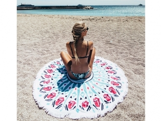 scarf round beach towel printed bikini beach towel printed towel swimwear two piece swimwear bikini printed swimwear beach summer