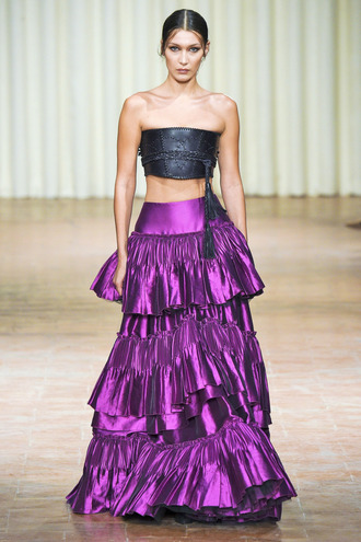 top metallic purple bella hadid alberta ferretti milan fashion week 2016 maxi skirt ruffle