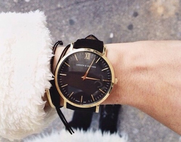 jewels watch black gold frame watch gold frame black watch gold watch thick band statement piece tumblr