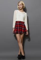 skirt,tartan,twill,skater,red
