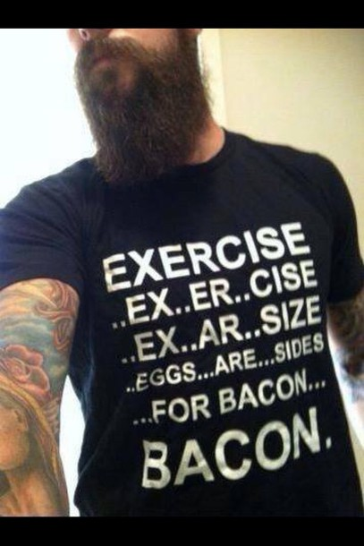 shirt menswear black bacon workout mens t-shirt